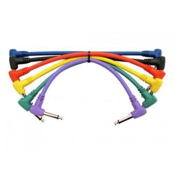 Pack 6 cables Patch 6,3 mono 6,3 mono en L. 15 cm. Kirlin